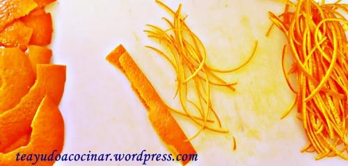 Corte en juliana de cáscara de naranja