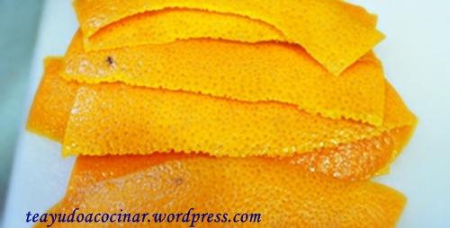 Cáscara de naranja en rectángulos