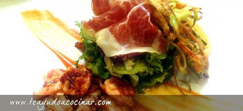 Ensalada-langostino-romesco